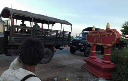 လက်ပံတောင်းတောင်ဒေသခံများ တားဆီးထားသည့်ကြေးနီတင်ယာဉ်၄ စီးကို စစ်တပ်ရဲအင်အားသုံး၍ပြန်လည် ယူဆောင်