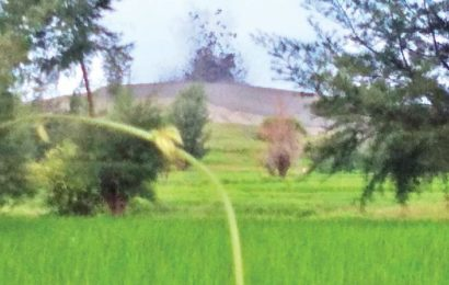 ရဲကျွန်းမြောက်ပိုင်းကျေးရွာက မီးတောင်တစ်ခု ချော်ရည်ပူတွေ မှုတ်ထုတ်